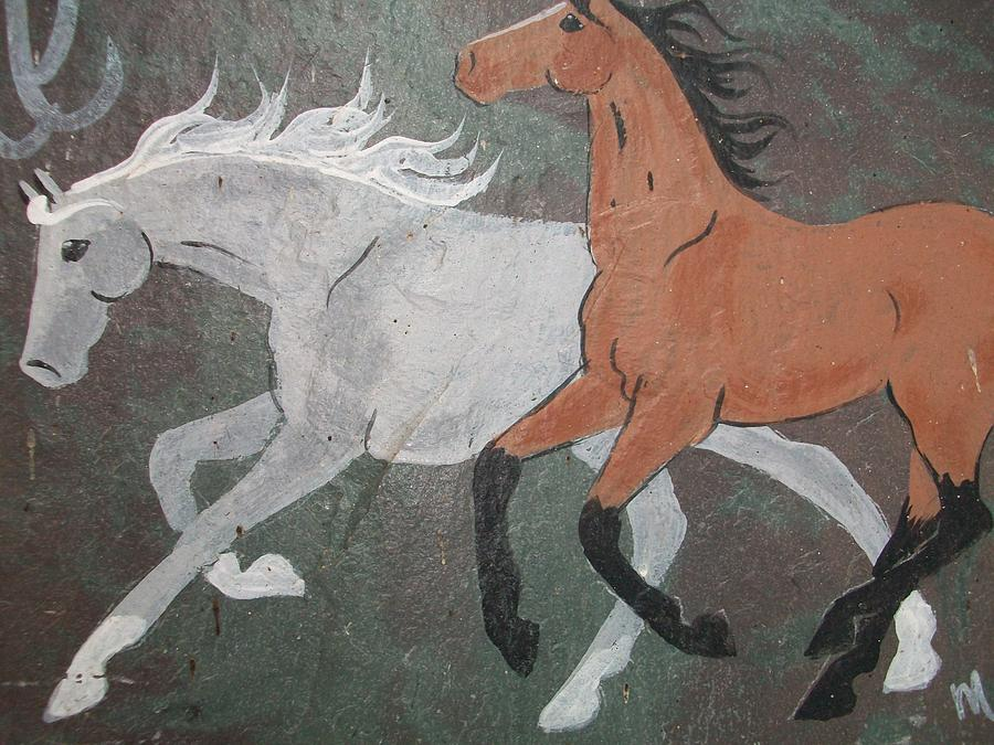Animals Painting - Galloping Horses. by Patricia Fragola