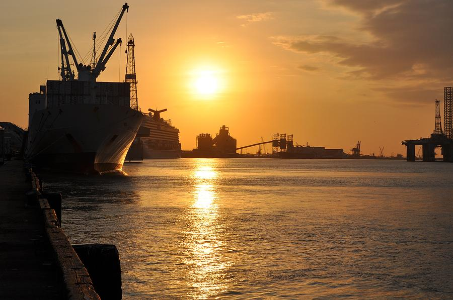 Galveston Photograph - Galveston Harbor by John Collins