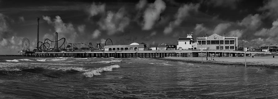 Galveston Pleasure Pier Black and White by Joshua House