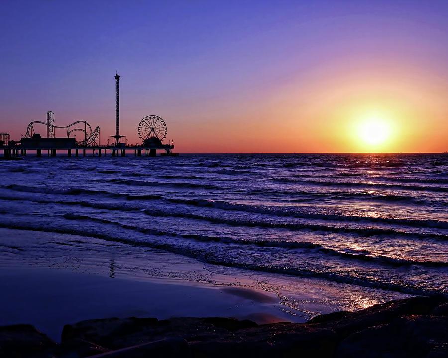 Galveston Photograph - Galveston Sunrise by Judy Vincent