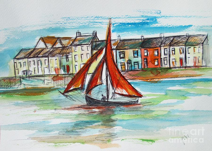 Galway Painting - Galway Hooker Signed And Numbered Art Print On Canvas  by Mary Cahalan Lee- aka PIXI