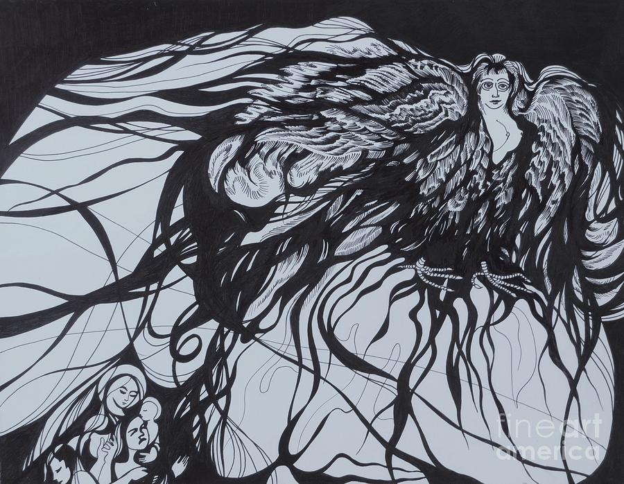 Black And White Drawing - Gamajun. The Prophetic Bird by Anna  Duyunova