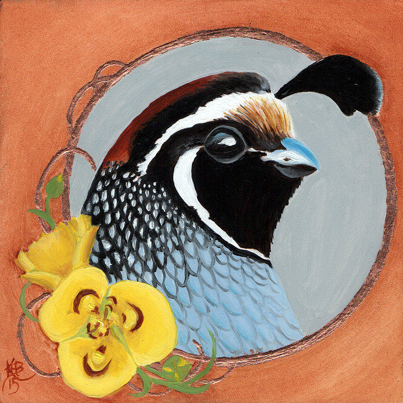 Gambel Quail Painting - Gambel And Lily by Kirsten Beitler