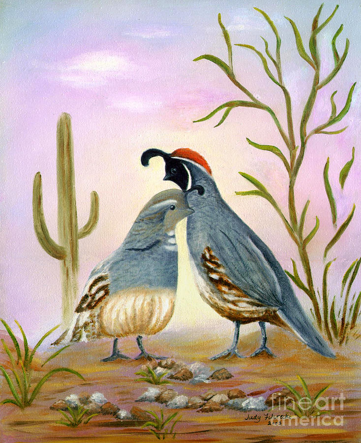 Gambel Quail Painting - Gambel Quails Friends Forever by Judy Filarecki
