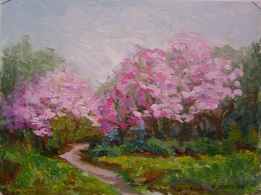 Landscape Painting - Gamble Gardens Magnolias by Carolyn Jones