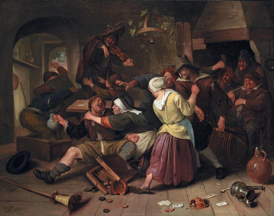 Jan Steen Painting - Gamblers Quarreling by Jan Steen