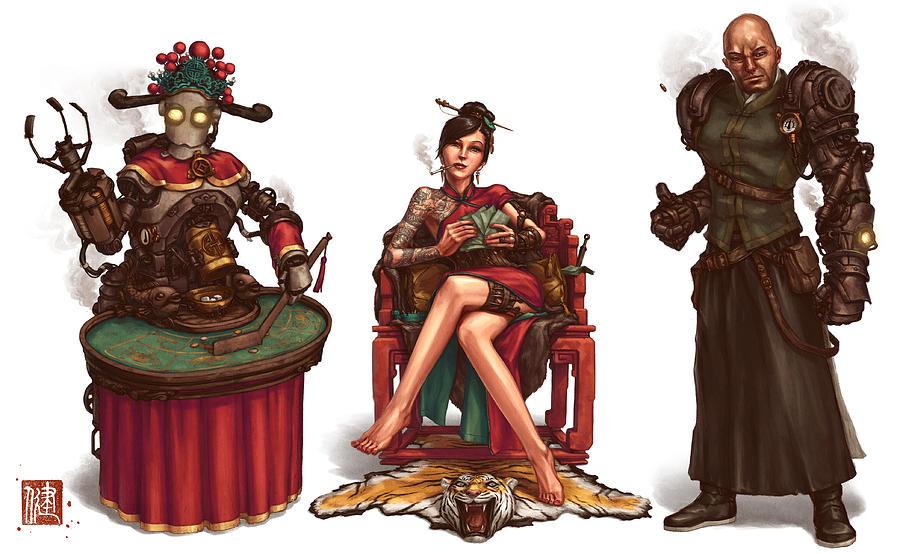 Steampunk Digital Art - Gambling Den Concept by James Ng
