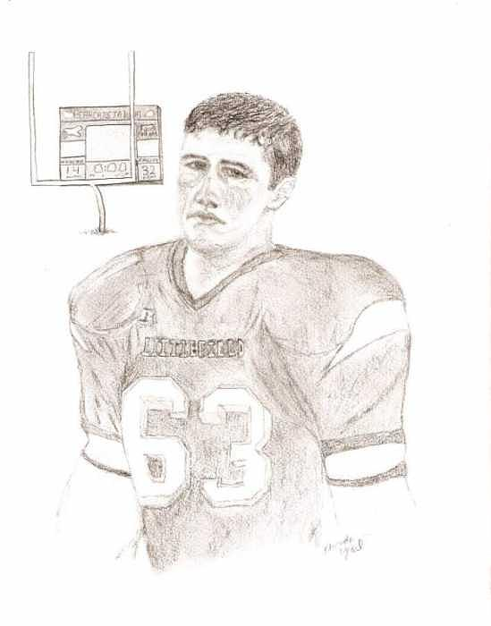 Football Player Drawing - Game Emotion by Rhonda  Yesel