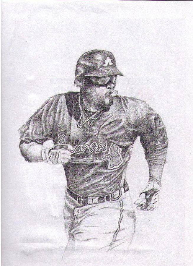 Baseball Drawing - Game In Motion by Garrett Wright