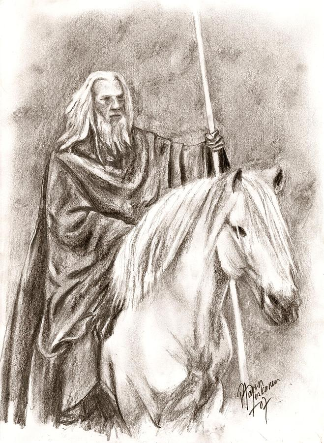 The Lord Of The Rings Drawing - Gandalf With Shadowfax by Maren Jeskanen