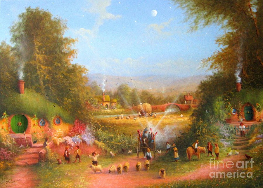 Lord Of The Rings Painting - Gandalfs Return Fireworks In The Shire. by Joe  Gilronan