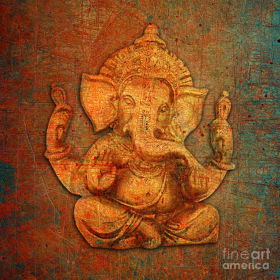 Ganesh on a Distress Stone Background by Fred Bertheas
