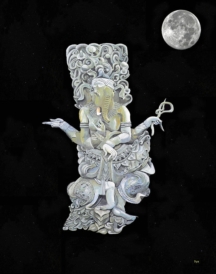 Ganesh with moon The Hindu elephant God. by Eric Kempson