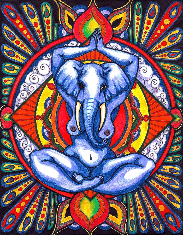 Elephant Drawing - Ganesha as Goddess by Pavia Justinian