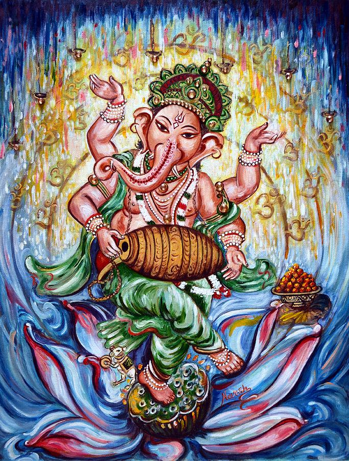 Ganesha Dancing And Playing Mridang Painting by Harsh Malik