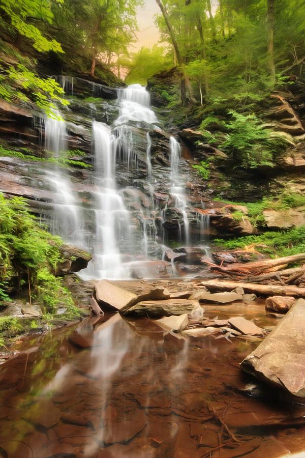Waterfall Photograph - Ganoga Falls Ricketts Glen by Lori Deiter