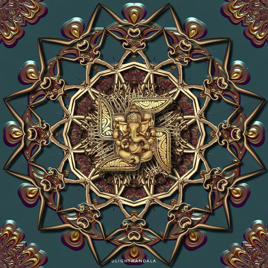 Light Digital Art - Ganpati Mandala  by Robert Thalmeier