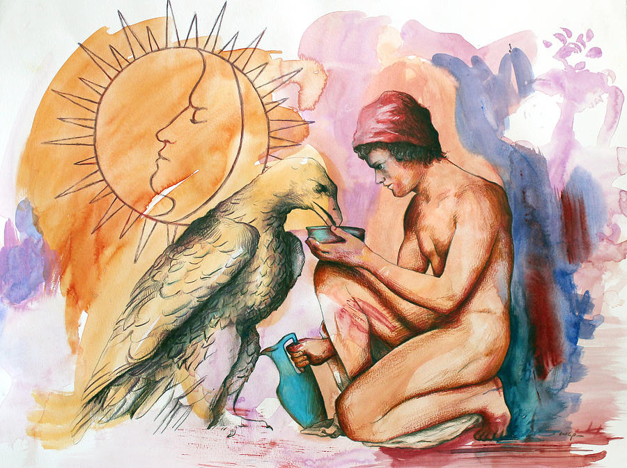 Mythology Painting - Ganymede And Zeus by Rene Capone