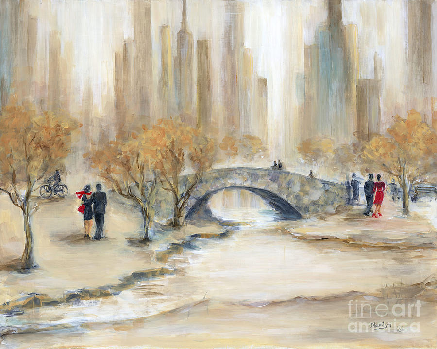Gapstow Bridge And Lovers Painting By Marilyn Dunlap