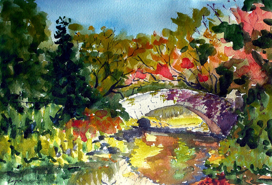 Gapstow Painting - Gapstow Bridge In October by Chris Coyne