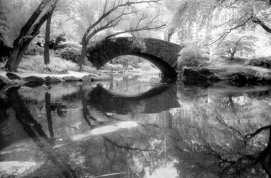 Black And White Photograph - Gapstow Bridge Ir H by Dave Beckerman