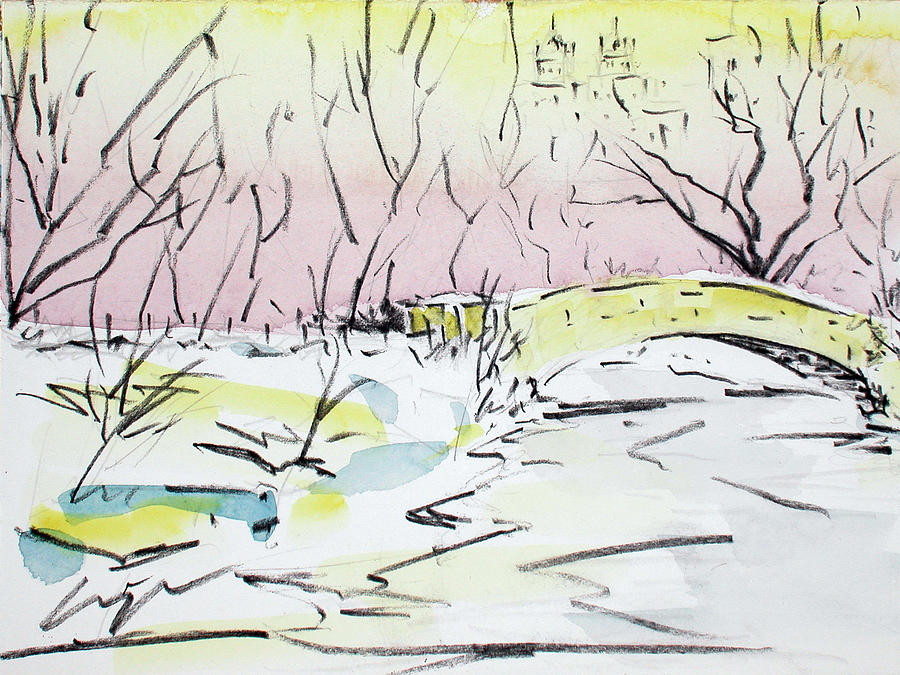 Central Park Painting - Gapstow In Winter by Chris Coyne