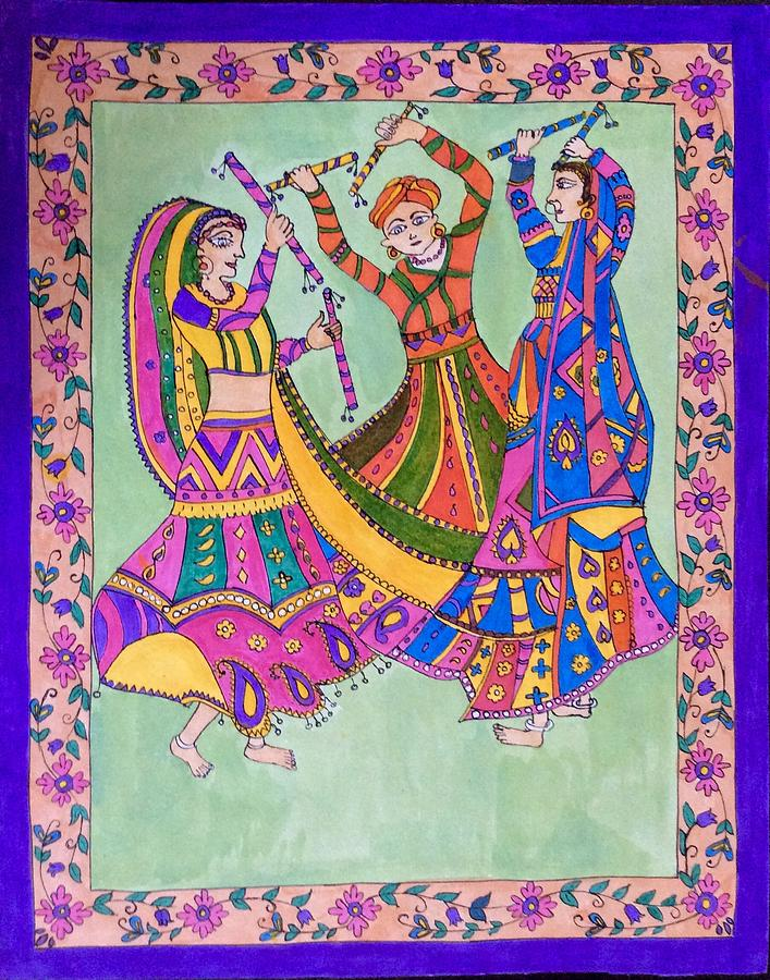 Madhubani Painting - Garba Dance by Nisha Sharma