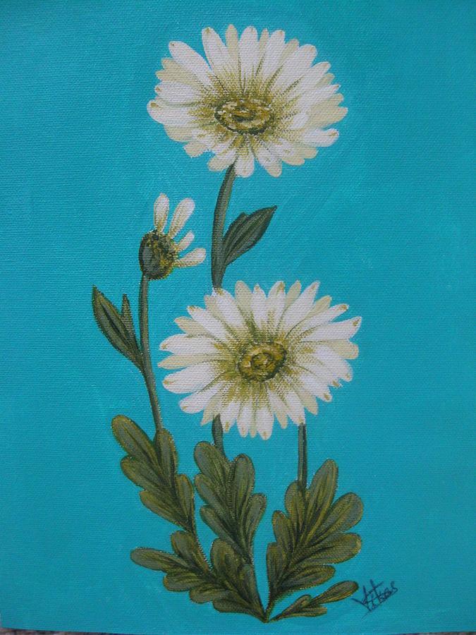 Floral Painting - Garbera Daisys by Swathi Kurunji