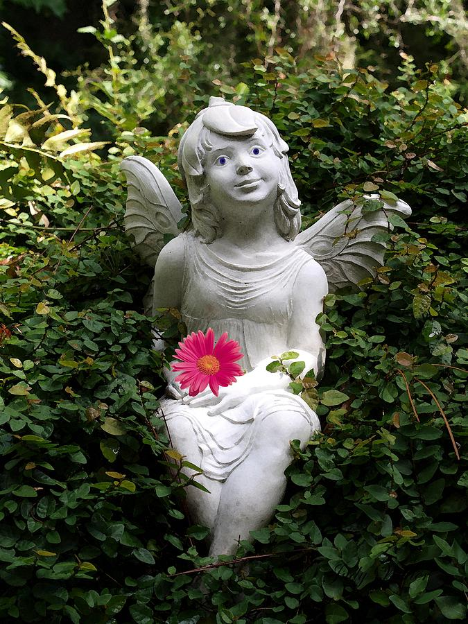 Angel Photograph - Garden Angel by Judy  Waller