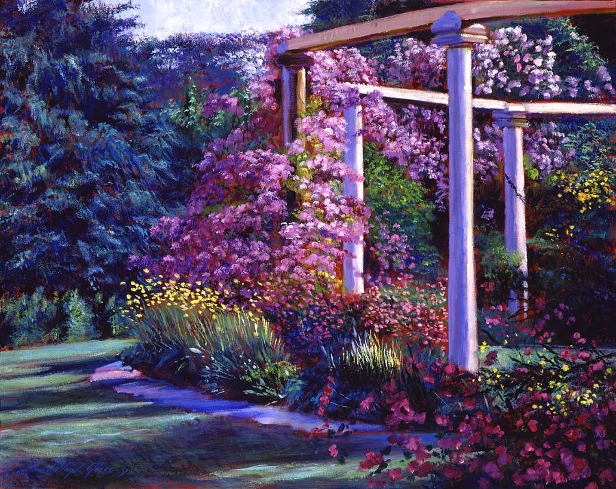 Gardens Painting - Garden Arbor by David Lloyd Glover