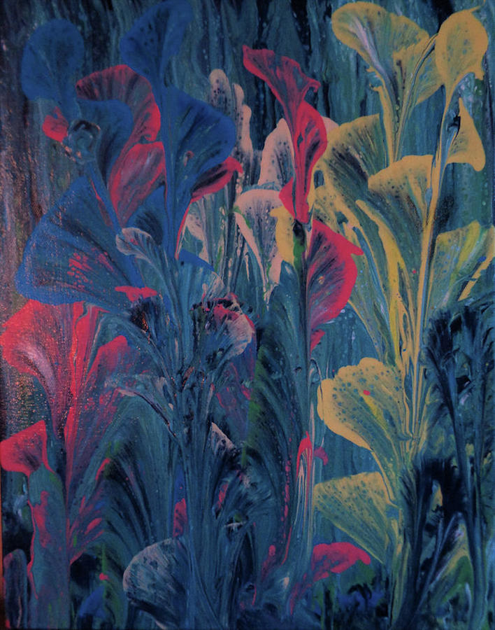 Acrylic Painting - Garden At Dusk by Diana Robbins