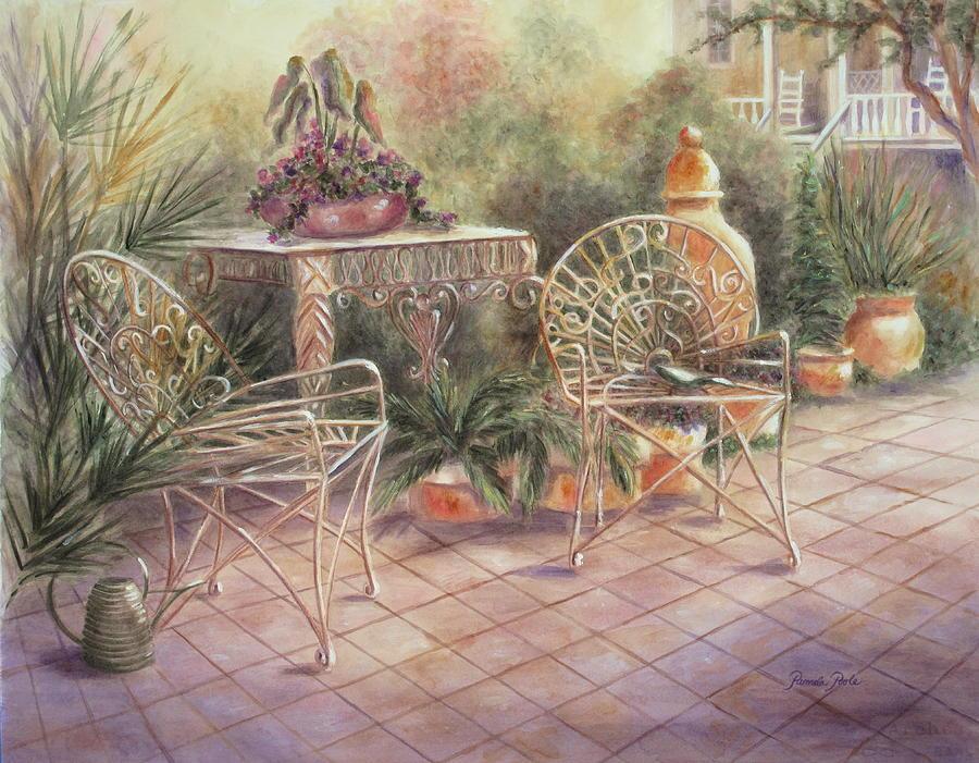 South Carolina Painting - Garden At Linwood  by Pamela Poole