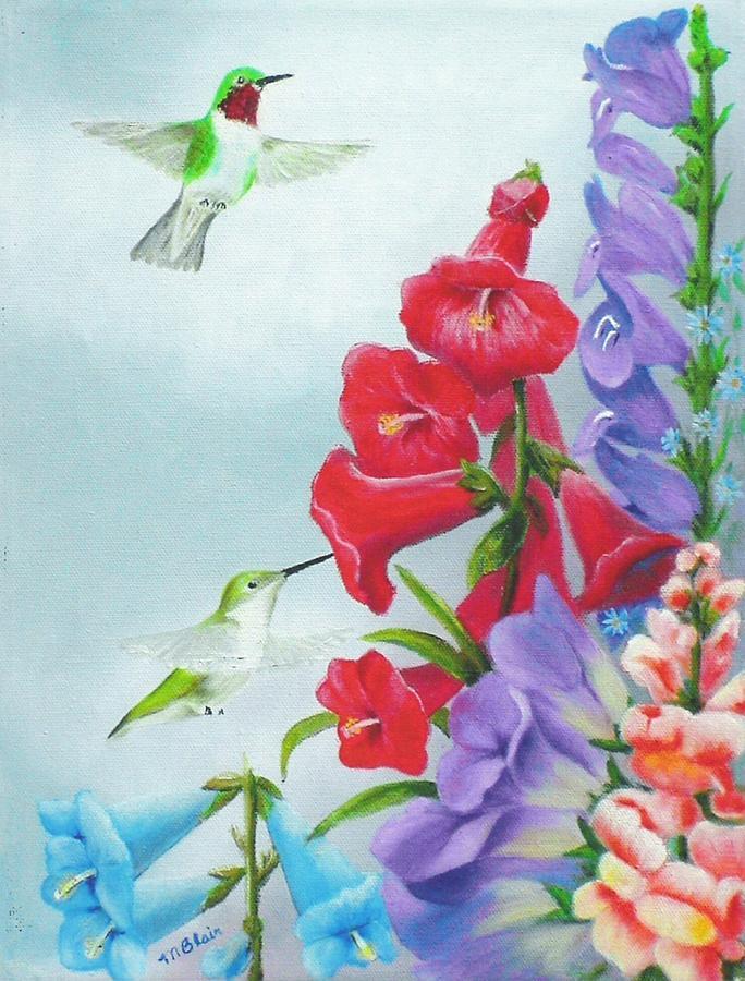 Birds Painting - Garden Beauties by Merle Blair