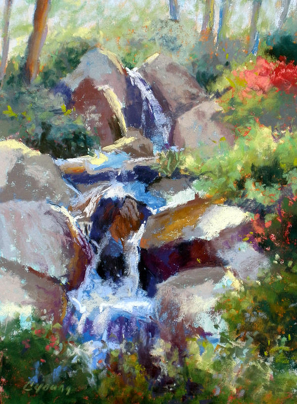 Stream Painting - Garden Beauty by Caryl Joy Young