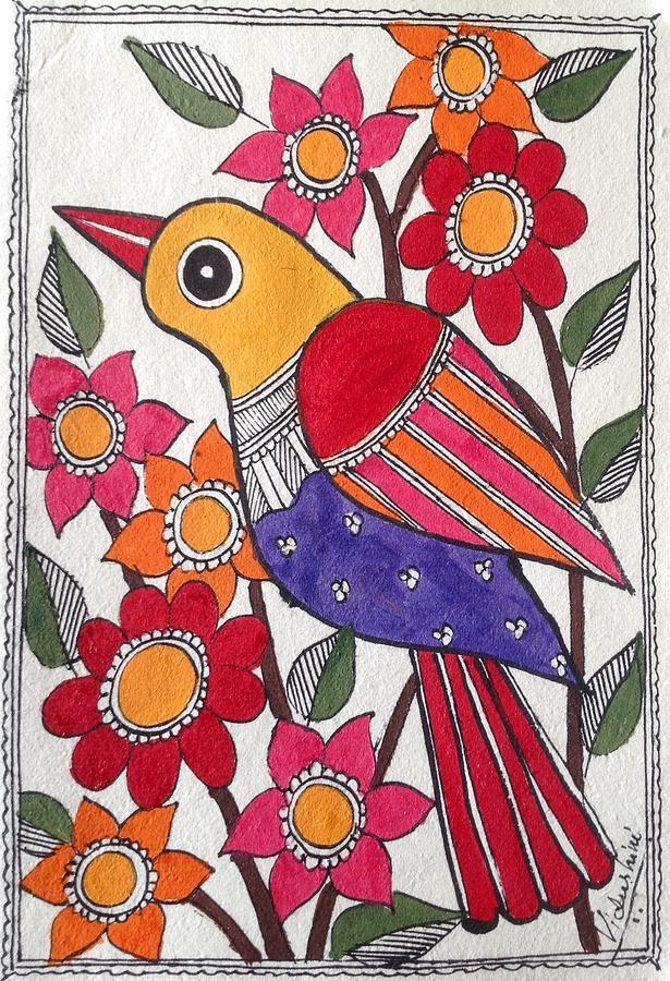 Madhubani Painting - Garden Bird by Vidushini Prasad
