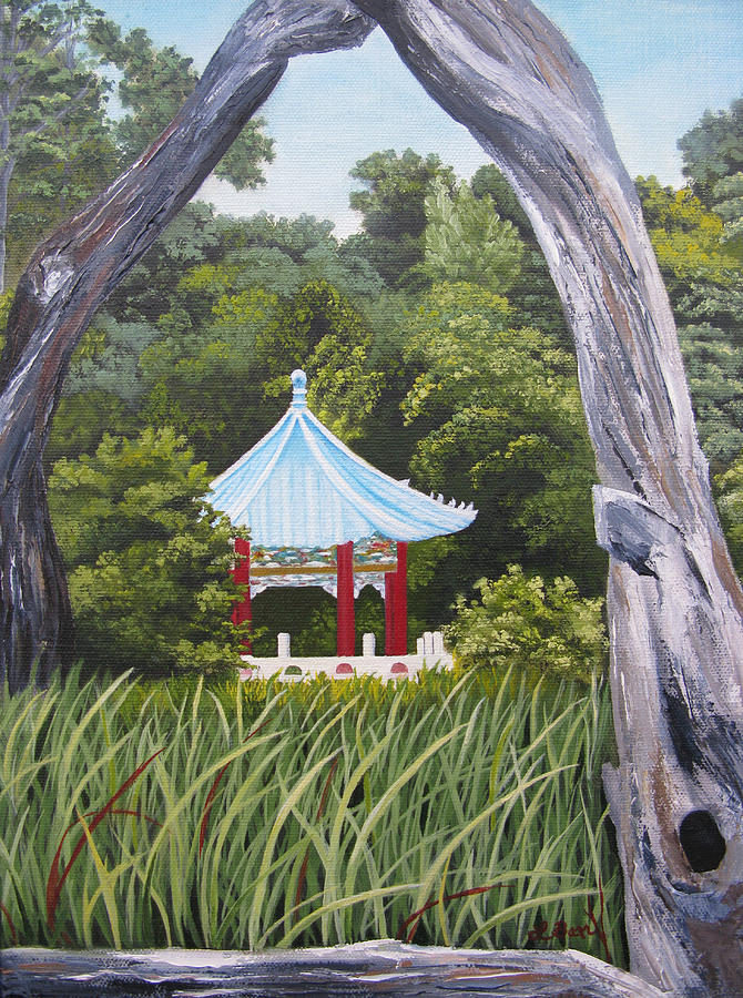 Landscape Painting - Garden By The Bay by Lisa Barr