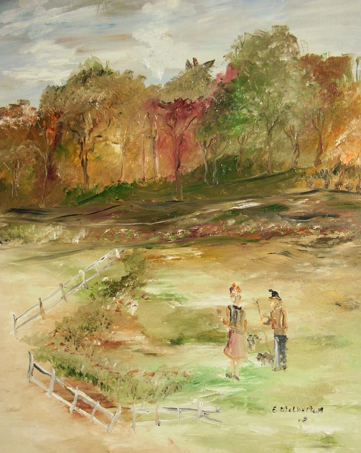 Landscape Painting - Garden By The Fence by Edward Wolverton