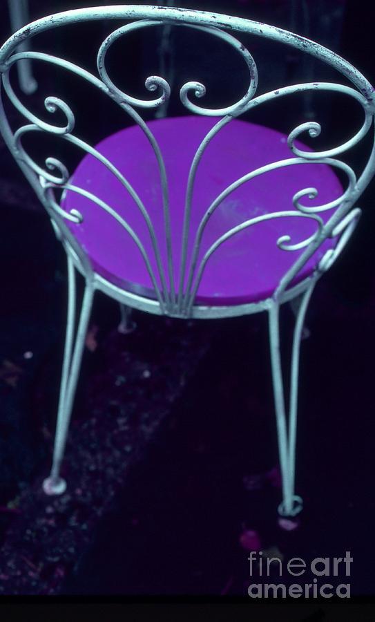Color Photograph - Garden Chair Series-violet by Tamarra Tamarra