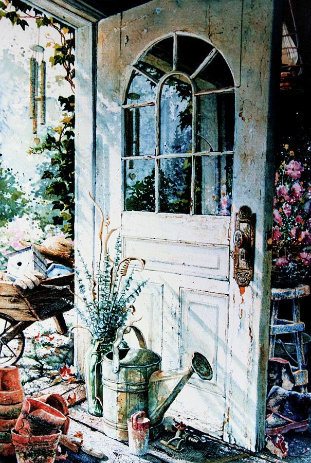 Garden Door Painting - Garden Chores by Hanne Lore Koehler