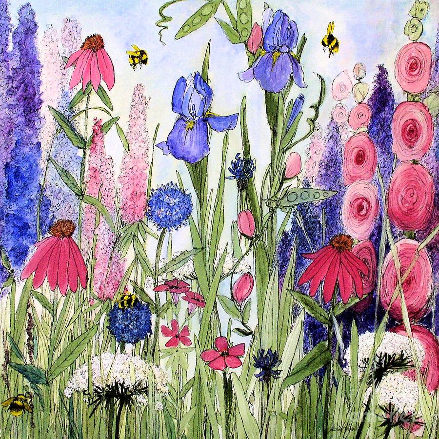 Garden Cottage Iris and Hollyhock by Laurie Rohner