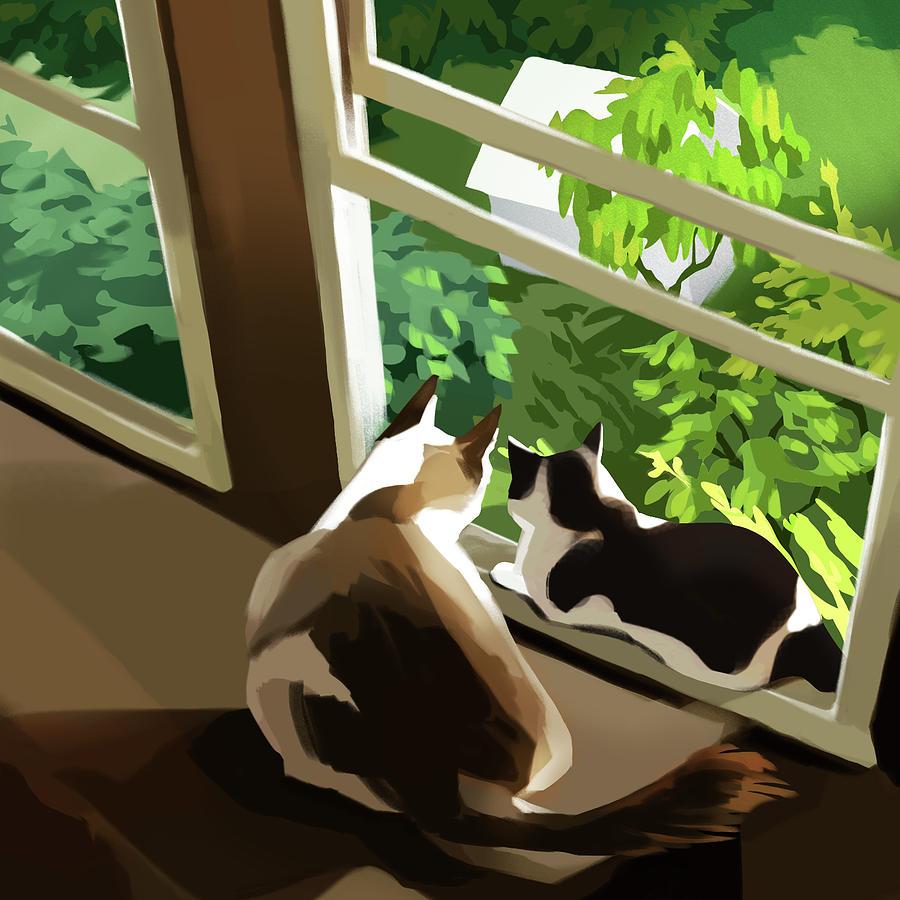 Cat Digital Art - Garden by Ellan Suder