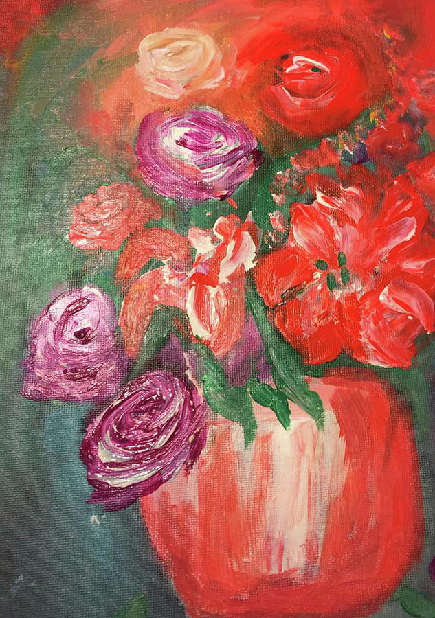 Flowers Painting - Garden Flowers In Vase 1 by Angela Holmes