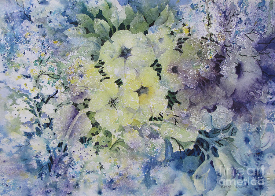Blossoms Painting - Garden-flowers by Nancy Newman