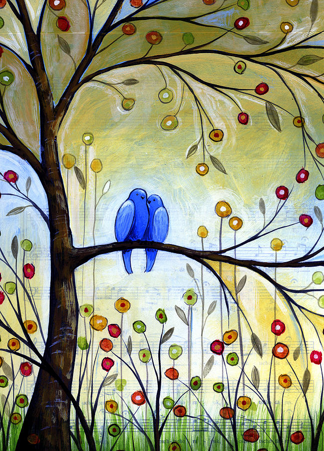 Birds Painting - Garden For Two by Amy Giacomelli
