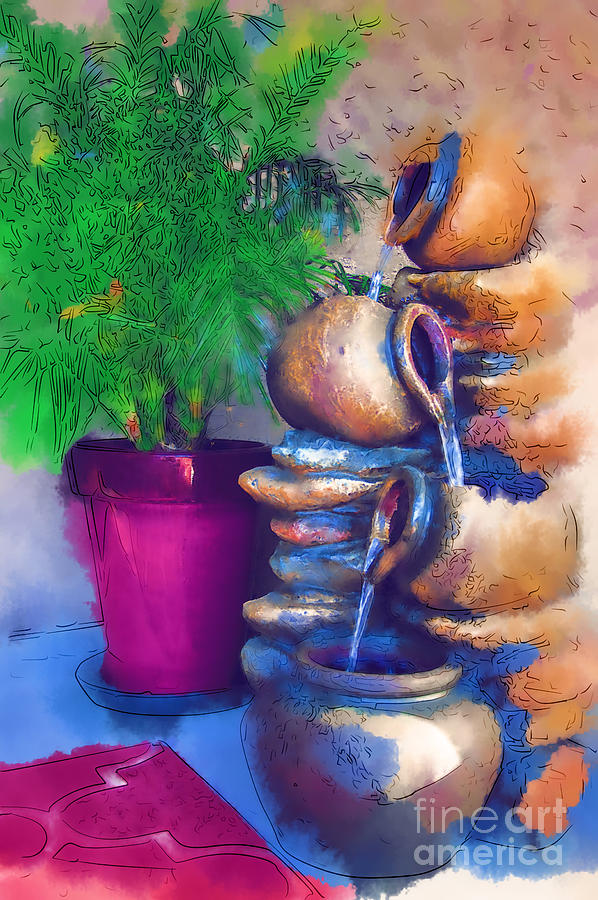 Fountain Digital Art - Garden Fountain by Kirt Tisdale