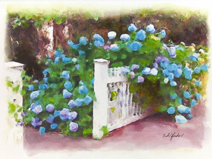 Floral Painting - Garden Gate Hydrangeas by Constance Fisher