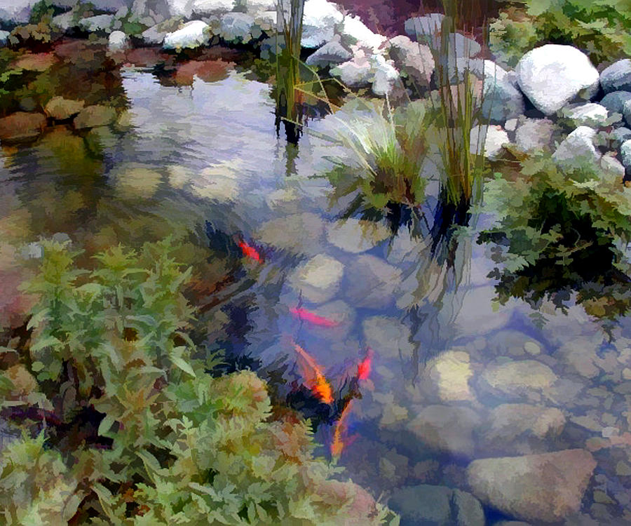 Garden koi pond painting by elaine plesser for Koi ponds and gardens