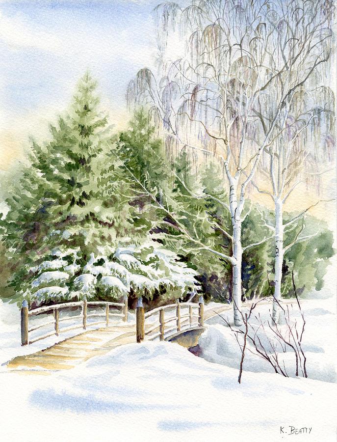 Garden Painting - Garden Landscape Winter by Karla Beatty