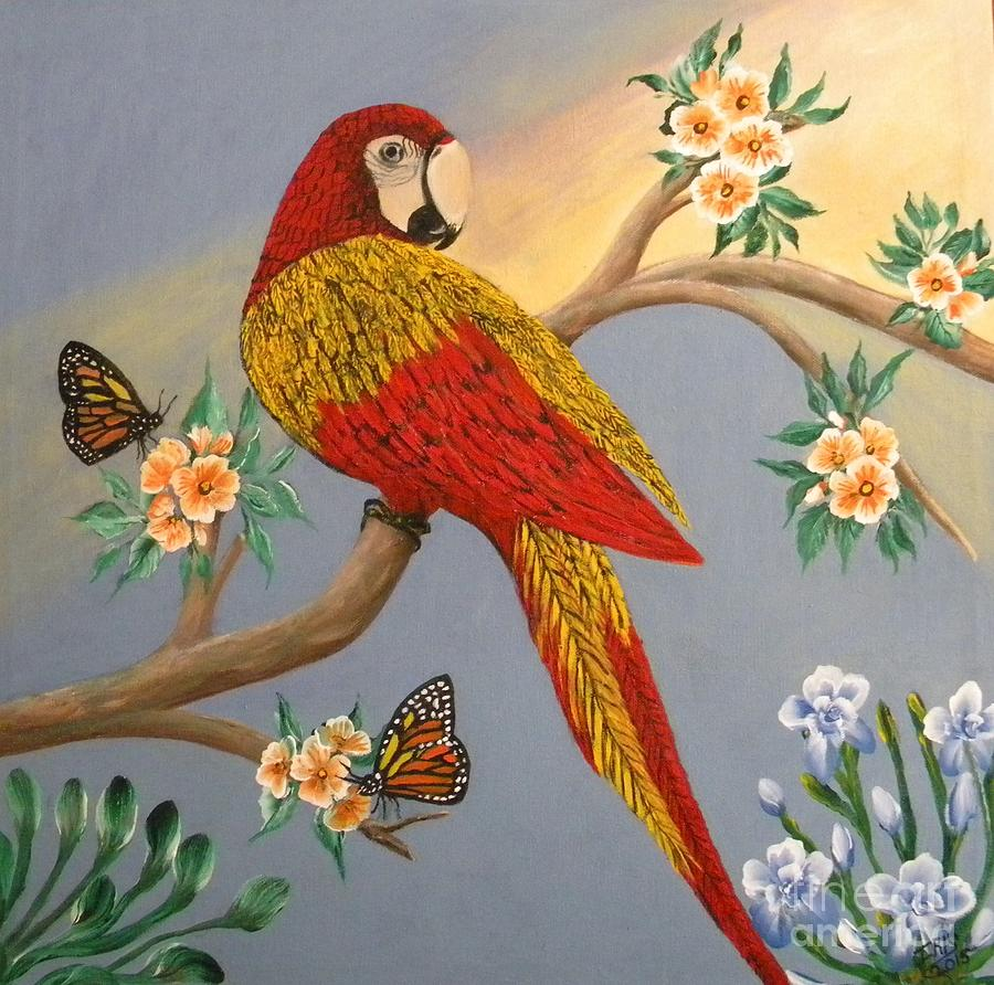 Macaw Parrot Painting - Garden Macaw by Iris  Mora