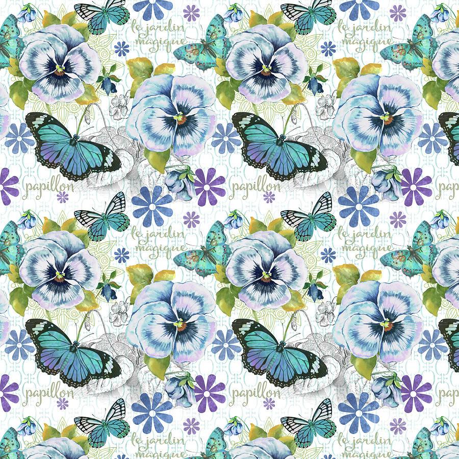 Pansy Digital Art - Garden Magic-e by Jean Plout